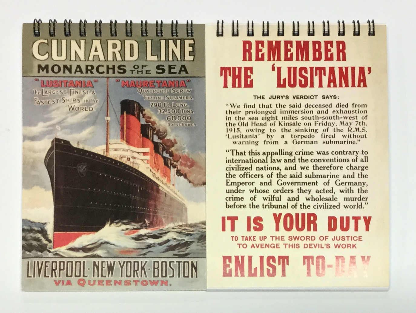 Cunard Line and Lusitania A6 Spiral Notebooks - Set of 2