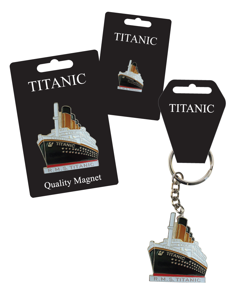 Titanic Enamel Keyring, Lapel Pin & Fridge Magnet Set