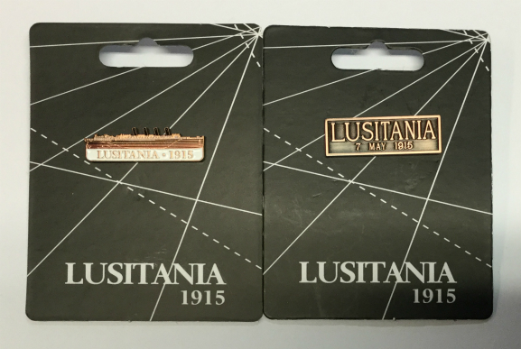 Lusitania 1915 Boat and Plaque Lapel Pin Badges - Set of 2