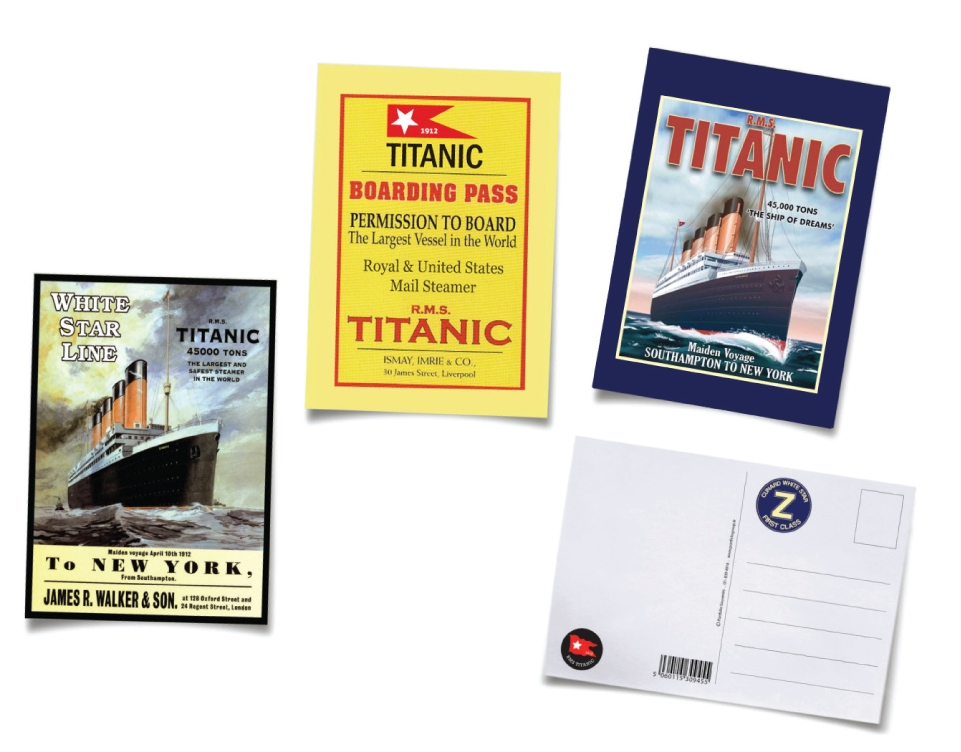 Titanic Postcards Set of 3 Assorted