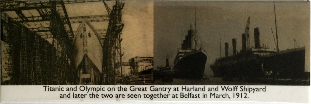 Titanic and Olympic at Belfast 1912 Metal Fridge Magnet
