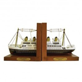 The Titanic 1912 Wooden Book Ends