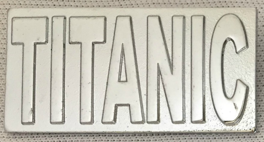 Titanic Metal Rectangular Lapel Badge - Silver