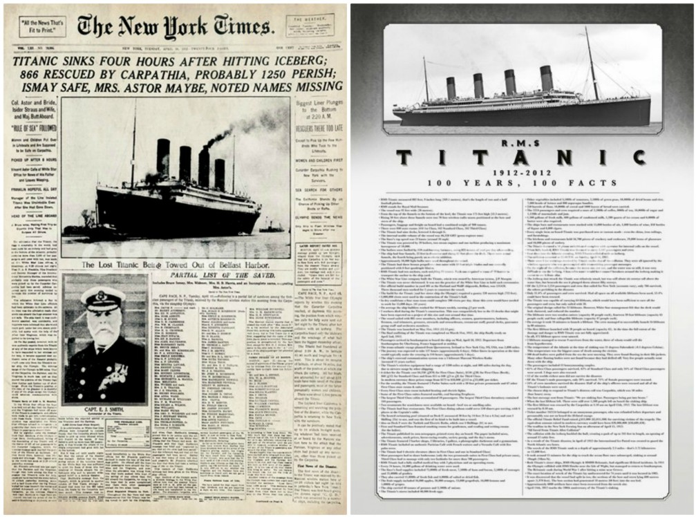 Titanic New York Times and 100 Years 100 Facts Set of 2 Posters